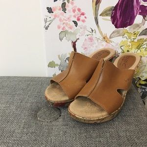 BOC Tan Leather Floral Patterned Wedges